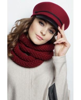 Женская кепка-картуз из фетра с кожаным козырьком