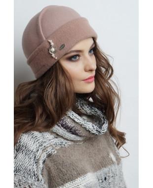Женская шапочка из фетра с трикотажем