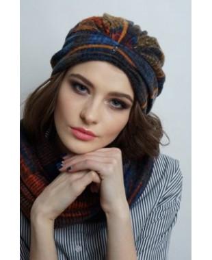 Женская трикотажная шапочка чалма с бусинами