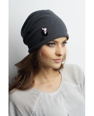 Женская трикотажная шапочка мягкой формы с круглым дном