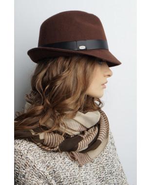 Женская шляпа-федора из фетра с атласным пояском