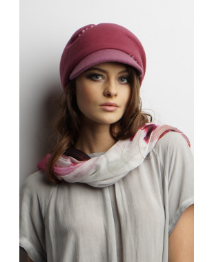 Женская кепка из фетра на основе берета с трикотажем
