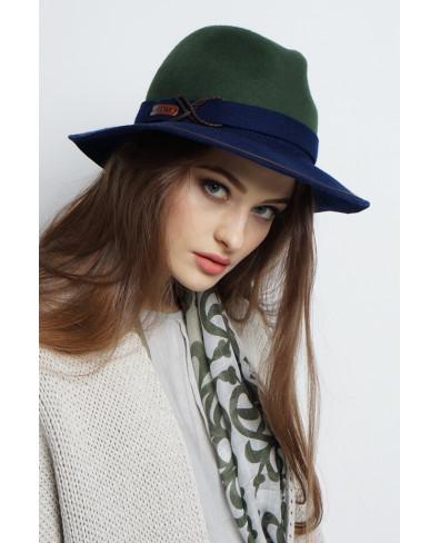 Шляпа-федора из фетра двухцветная с кожаной отделкой