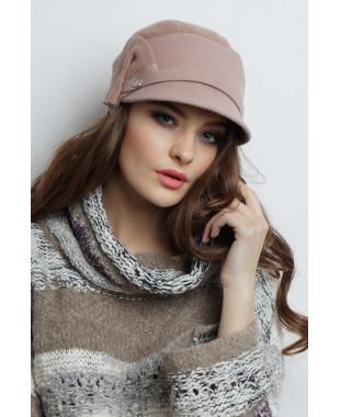 Женская кепка из фетра комбинированная с трикотажем