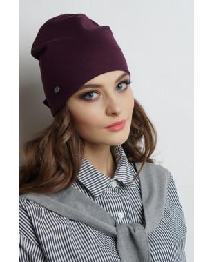 Женская трикотажная шапочка с бантиком сзади