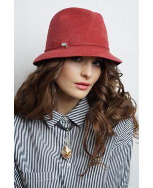 Женская шляпка из велюра федора с пояском и бантиком