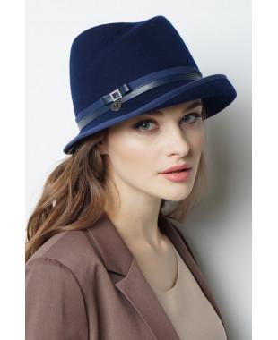 Шляпа из фетра с замином и полем вверх под окантовку