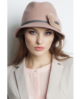 Шляпа-федора из фетра с меховым сердечком и трикотажными ушками