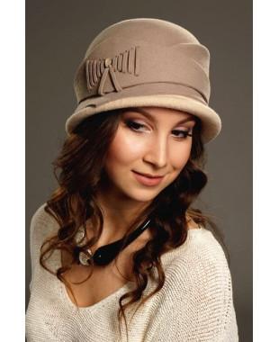 Женская фетровая шляпка с трикотажем  и регулировкой размера