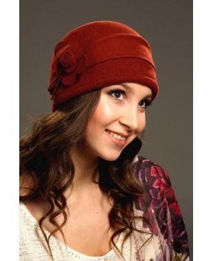 Женская фетровая шапочка с трикотажем
