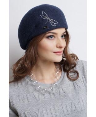 Женская кепка из фетра со стрекозой