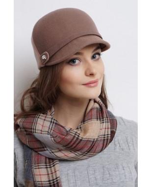 Женская кепка комбинированная из фетра и трикотажем