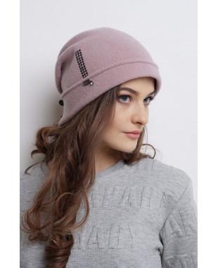 Женская шапочка из войлока мягкой формы с бантиком сзади