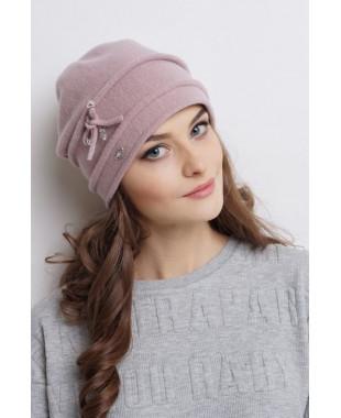Женская шапочка из войлока мягкой формы с бантиком
