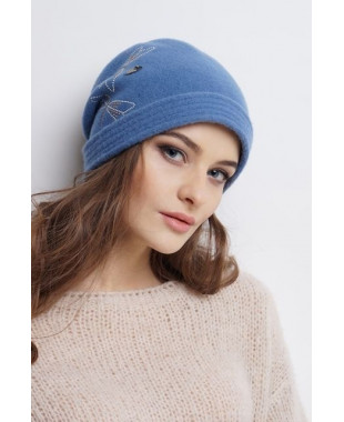 Женская шапочка-трансформер из войлока со стрекозой