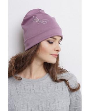 Женская трикотажная шапочка с отворотом