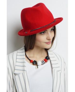 Шляпа-федора из фетра с трикотажным полем и цепочкой